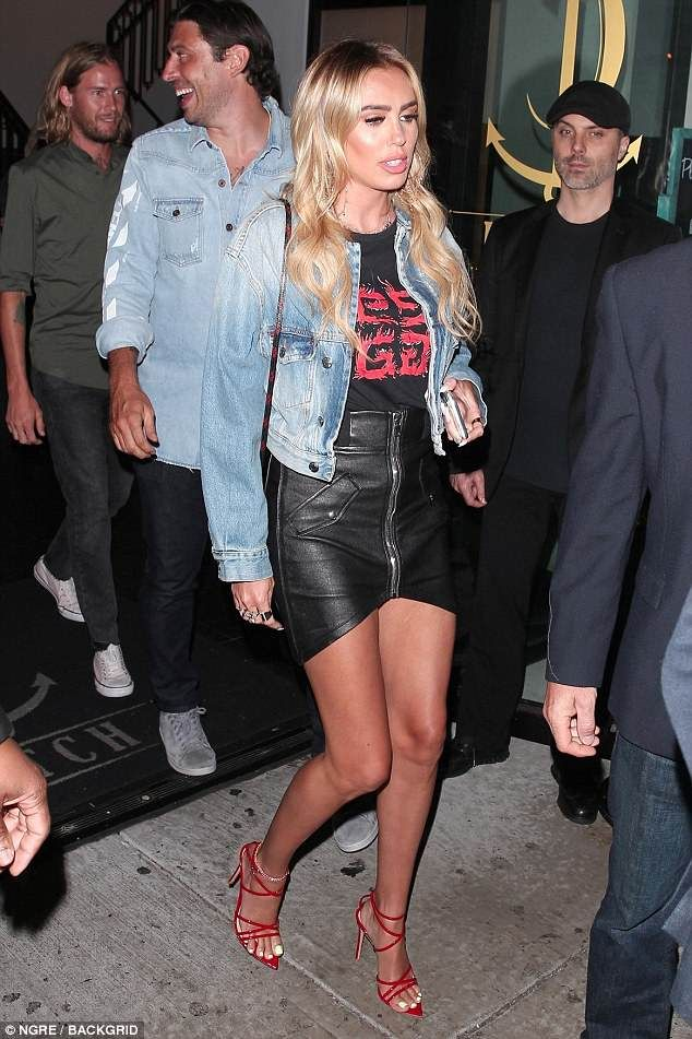 f6d27de00509f Petra Ecclestone shows off bronzed physique in a rock-chic ensemble for  night with beau Sam Palmer