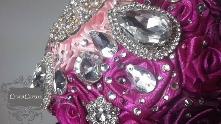Ombre rózsacsokor kristályokkal ékszercsokor;örökcsokor, ;brosscsokor;broochbouquet, jewellery bouquet