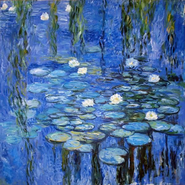 "Monet, Blue Water Lilies, 1919 Monet reduced detail in his painting, including only the essence of the seen, or the impression of the reflection, water, and lily flower. The French poet Paul Claudel said: ""Thanks to water, [Monet] has become the painter of what we cannot see. He addresses that invisible spiritual surface that separates light from reflection. Airy azure captive of liquid azure … Color rises from the bottom of the water in clouds, in whirlpools."" (Quotes source: p262 Art...."