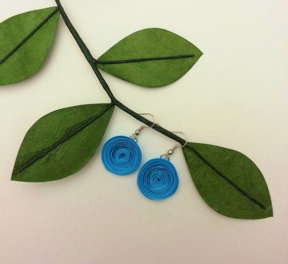 Paper Flower Dangle Earrings - Light Aqua Rolled Paper Flower Earrings - Perfect for Bridesmaid Gifts, Birthdays, Everyday