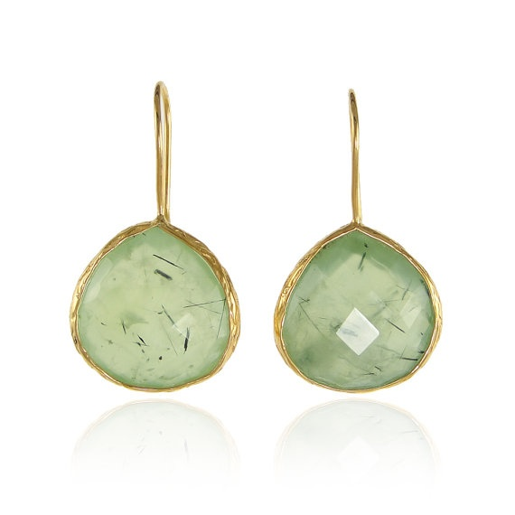 Gold Chipole earrings with Prehnite from pradman spring summer jewelry collections
