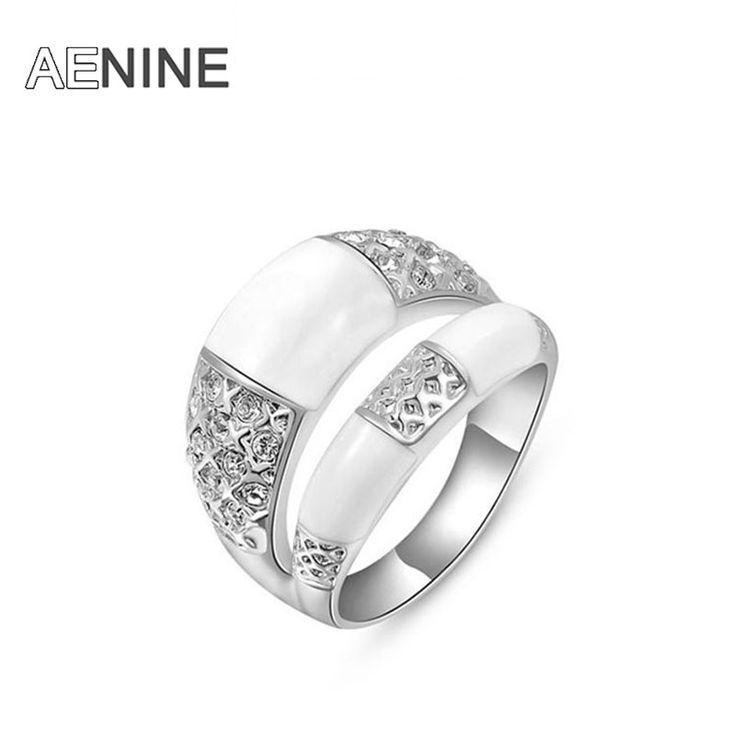 AENINE Kişilik Çift Satırlar Yüzükler kadınlar için Kaya anel Altın kaplama Kristal düğün gelin takı 2010423390