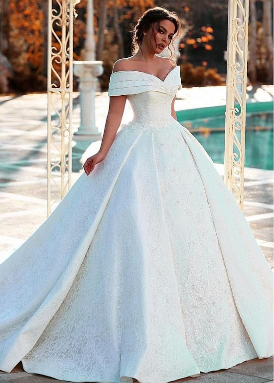 Magbridal Fantastic Lace & Satin Off-the-shoulder Neckline Ball Gown Wedding Dresses With Beaded Lace Appliques