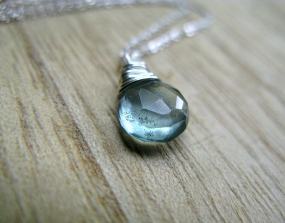 Moss Aquamarine Necklace  Wire Wrapped briolette by SaressaDesigns