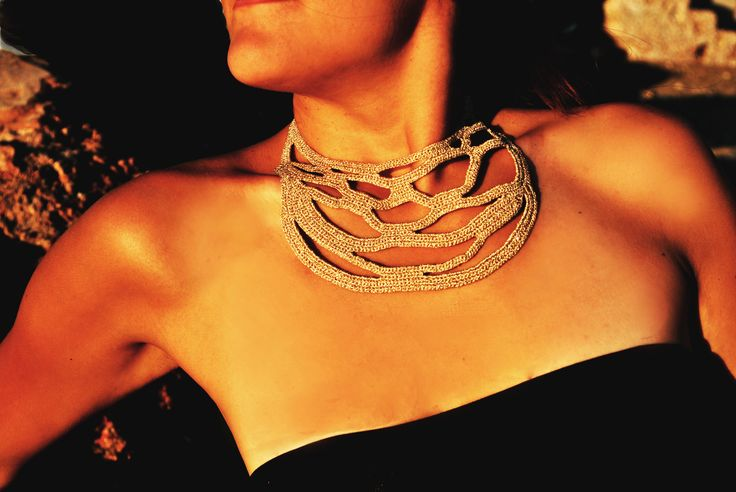 Gold crochet necklace by WED.LAB