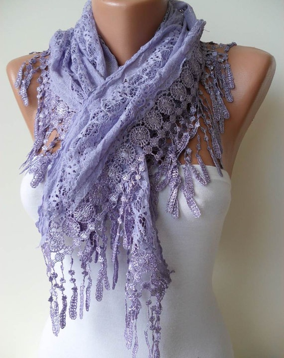Lilac Lace Shawl / Scarf  with Lace Edge by SwedishShop on Etsy, $17.90: Lilac Trim, Style, Lace Shawl, Edge Springsummer, Lilac Scarf, Trim Edge, Scarfs, Lilacs