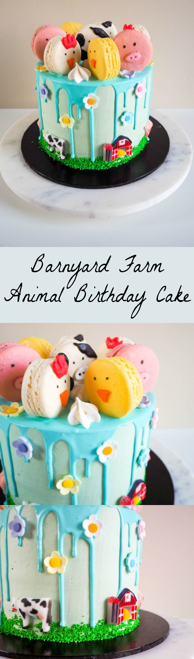 Barnyard Farm Animal Birthday Cake