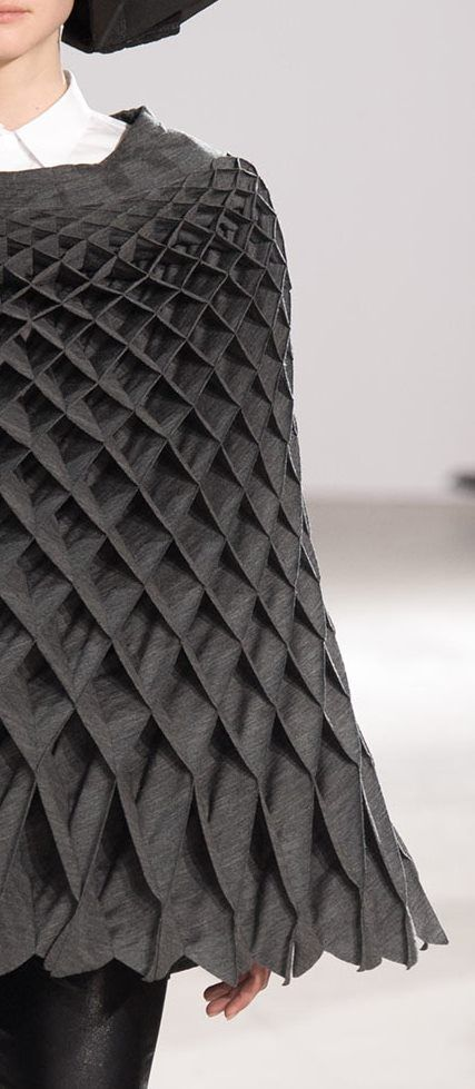 Fabric Manipulation - grey poncho with 3D honeycomb textures; creative sewing; fashion detail // Junya Watanabe Fall 2015