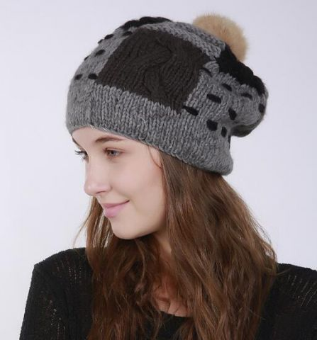 ef13631e7c7 Color block knitted bobble hat with fur pom pom for lady winter beanie hats