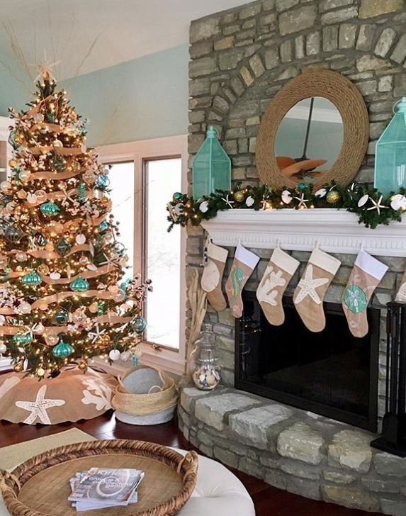 Coastal Beach Nautical Christmas Home Decorations Tree Ideas Coastal Christmas Decor Coastal Christmas Tree Beach Christmas Trees