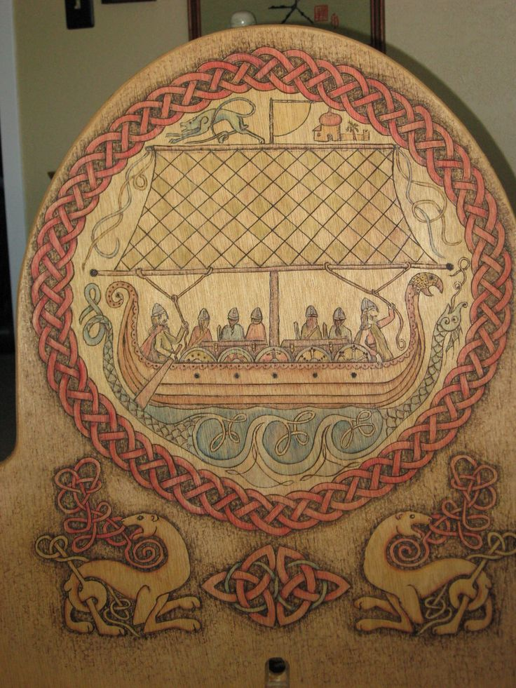 Wood burned camp chair viking trade ship by anitaburnevik for Viking chair design