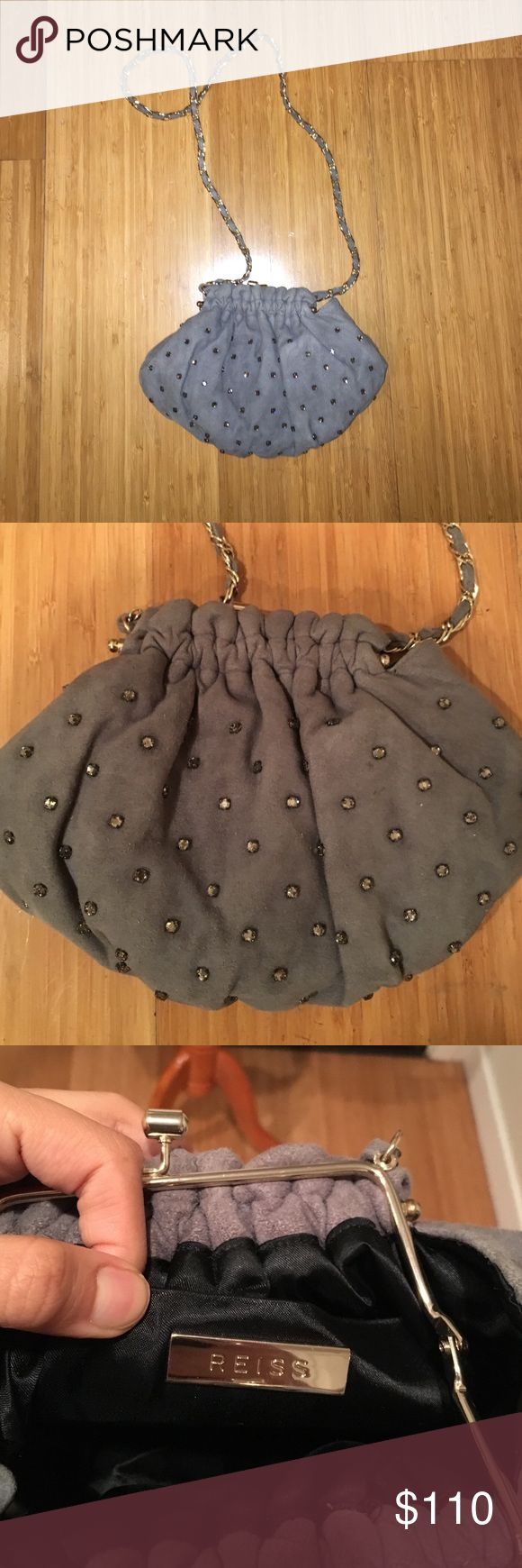 Reiss Gray Bag with Chain Perfect bag for a night out. So chic with kiss-lock closure. Material is velvet-y and has studs sewn on it. Can also be worn cross-body. Worn once only. If you have questions, please ask! Reiss Bags Mini Bags