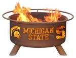 Michigan State Fire Pit - Get fired up for the next Spartans game with an Michigan State Fire Pit. Each pit comes with a poker, spark screen, weather cover and a BBQ grill. These unique fire pits are a must for tailgate parties and grilling before the big game. Manufactured with pride by Patina Products, show your school spirit by ordering one today. Not your team? We have this offered in many other schools at collegemothership.com