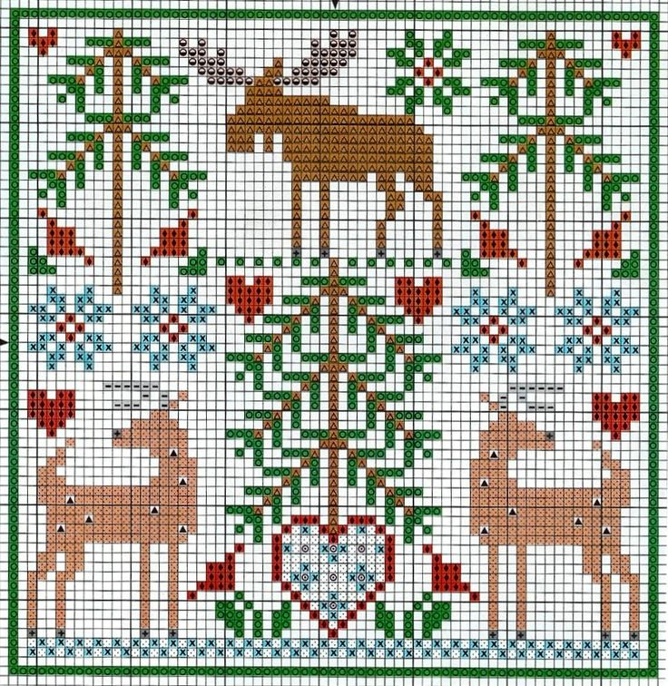 Cross-stitch Christmas ... no color chart available, just use the pattern chart as your color guide..
