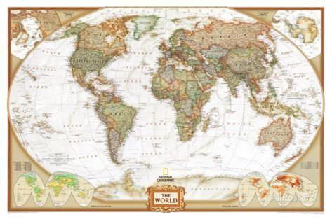 Mapa Político Mundial, Estilo Executivo Fotografia na AllPosters.com.br