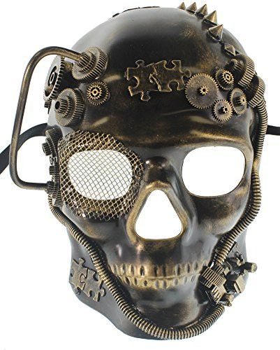 "Made of Hard Plastic Mask Is about 9 1/4"" Tall and 7 1/2"" Wide Stream Punk Style Perfect for Any Masquerade Ball or Venetian Party Fits Most Adults"
