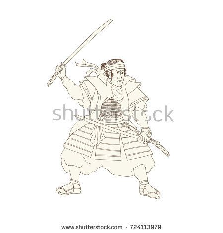 Woodblock drawing sketch style illustration of Samurai Warrior Katana sword Fight Stance viewed from side on isolated background.  #samurai #drawing #illustration