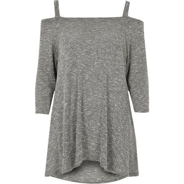 River Island Grey cold shoulder hanky hem knit top ($24) ❤ liked on Polyvore featuring tops, grey, knitwear, sale, women, knit top, cut shoulder tops, grey top, three quarter length sleeve tops and cut-out shoulder tops