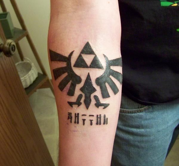 Triforce Crest and Hylian tattoo