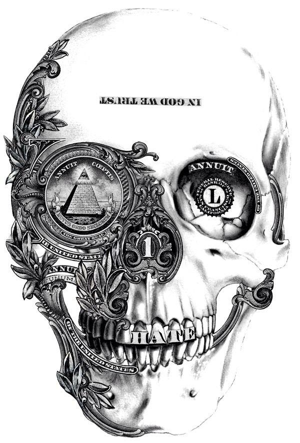 Skulls money in god we trust hate pyramid of the united states tattoo flash art ~A.R.