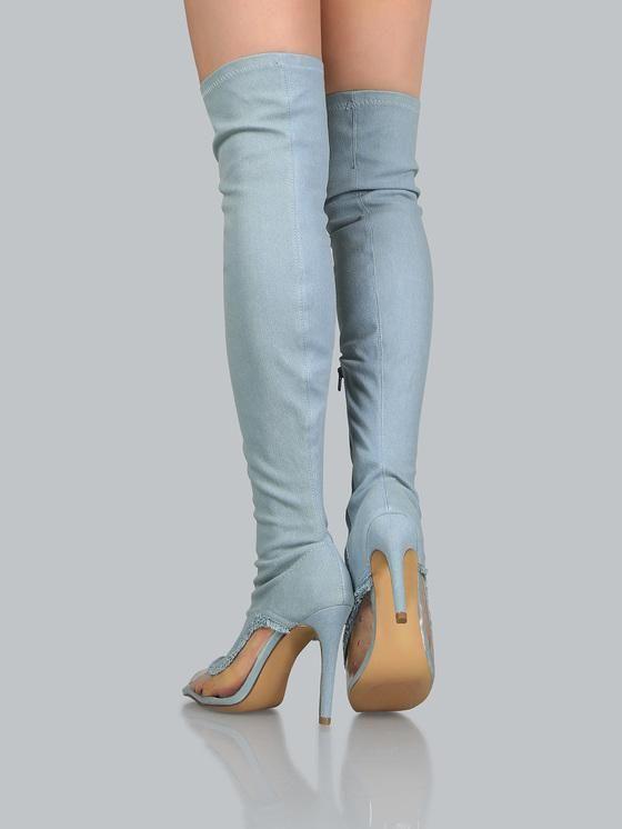 Frayed Denim Peep Toe Thigh High Stiletto Heel Boots-$128.99