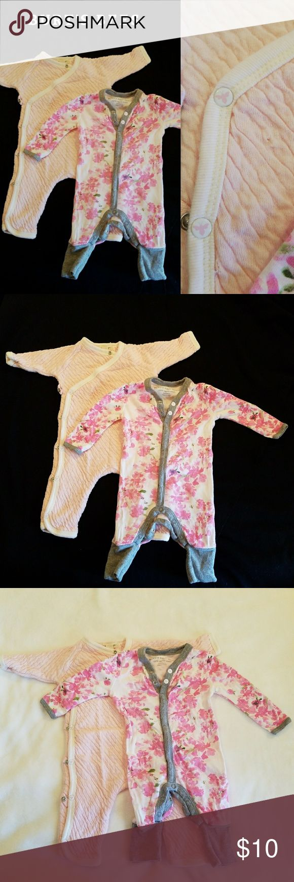 Burt's Bees Onesies, no feet 1st onesie - solid pink with white trim. Thicker material. Has a few small holes, see last picture. See image on snaps, snaps open all the way up the front  2nd onesie - 100% organic cotton. Pink flower print with gray trim and cuffs. Summer weight. DOES NOT unsnap up the front, leg area only. Burt's Bees Baby One Pieces Bodysuits