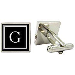 Monogram Cufflinks,Personalized Mens Cufflinks,Custom Initial Cufflinks with Cufflink Box (G)