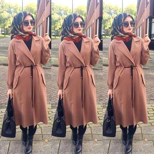 cognac coat hijab outfit, Elegant hijab street style http://www.justtrendygirls.com/elegant-hijab-street-styles/