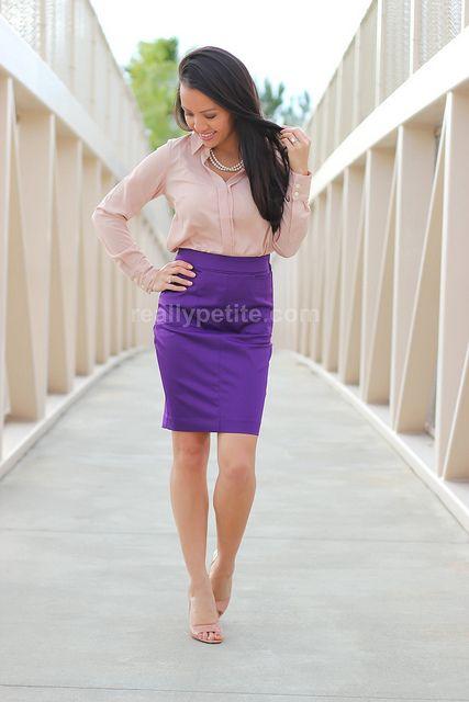 purple pencil skirt via Stylish Petite  Beige collared top, purple skirt, pearls