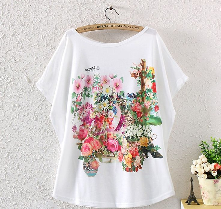 FASHION SUMMER WOMEN'S BATWING SLEEVE FLORAL GRAPHIC PRINTED T SHIRT LOOSE TOPS