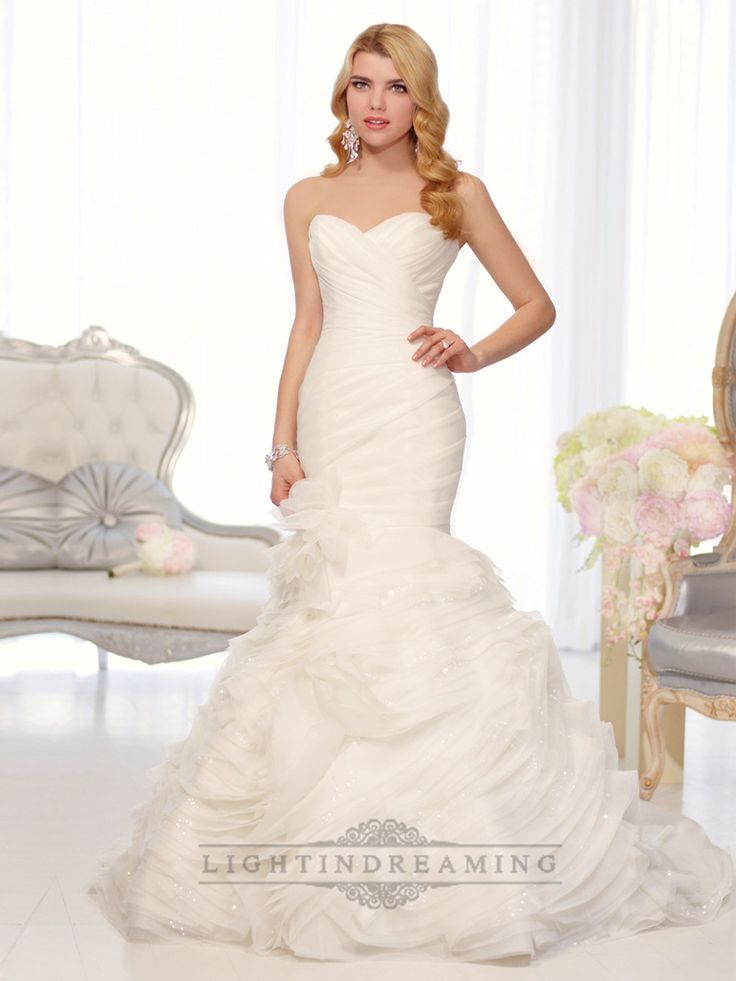 Organza Sweetheart Trumpet Wedding Dresses with Pleated Bodice and Layers Skirt
