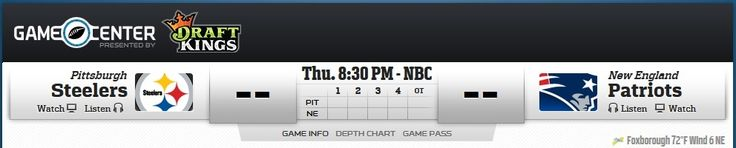 Pittsburgh Steelers vs. New England Patriots on Sep 10, 2015. Watch video of the game, buy tickets, get stats & depth charts, game highlights, analysis, recap, and discuss with other NFL fans! #nflopener #patriots #steelers #brady