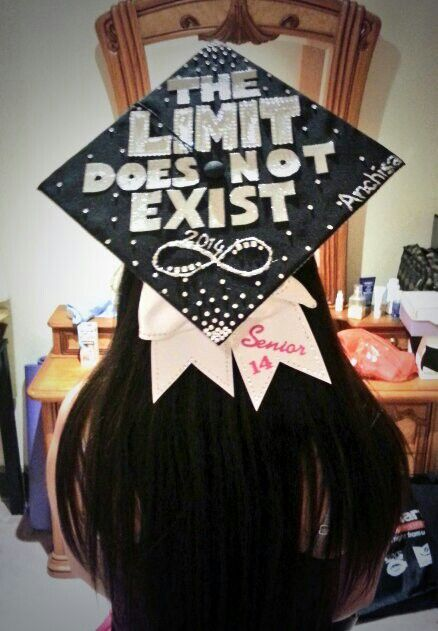 Graduation cap inspired by calculus.The limit DNE! Created with gems, crystals, glitter paper, glitter glue, and bow. -Anchisa