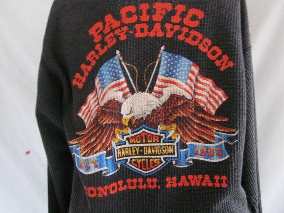 Pacific Harley Davidson Honolulu Hawaii Harley Dealer Shirt 1980s sz L Front and Back Motorcycle Thermal Shirt  ReVintageBoutique.Etsy.com