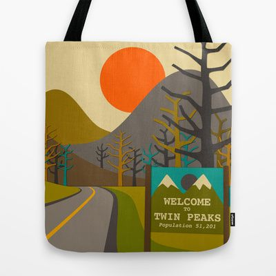 Twin Peaks Tote Bag by Jazzberry Blue - $22.00