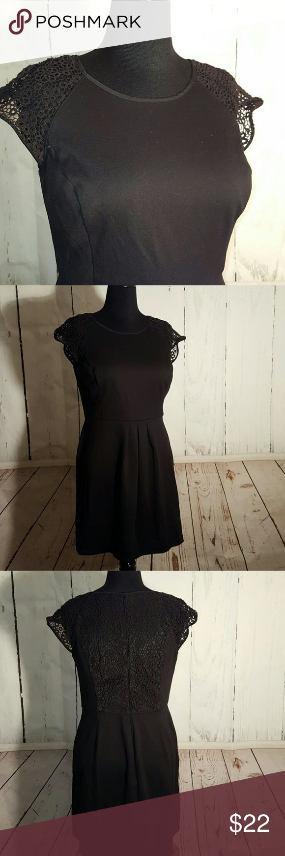 🔥FLASH SALE🔥 Black Crochet Cocktail Dress Adorable black dress by Lauren Conrad  in a size 16. Had crochet capped sleeves and back panel detail with a hidden zipper and flattering pleated waist. Lauren Conrad  Dresses