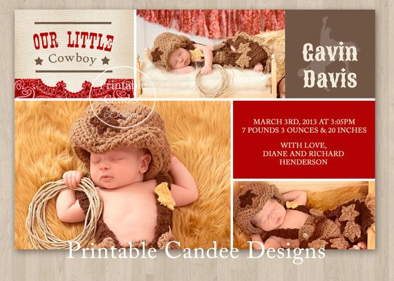 Hey, I found this really awesome Etsy listing at http://www.etsy.com/listing/124767043/western-cowboy-baby-birth-announcement