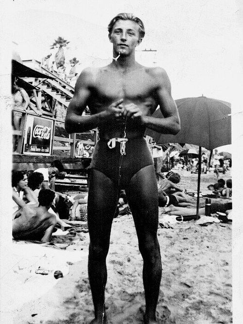 Picture of Robert Mitchum taken on the beach, c. 1942.