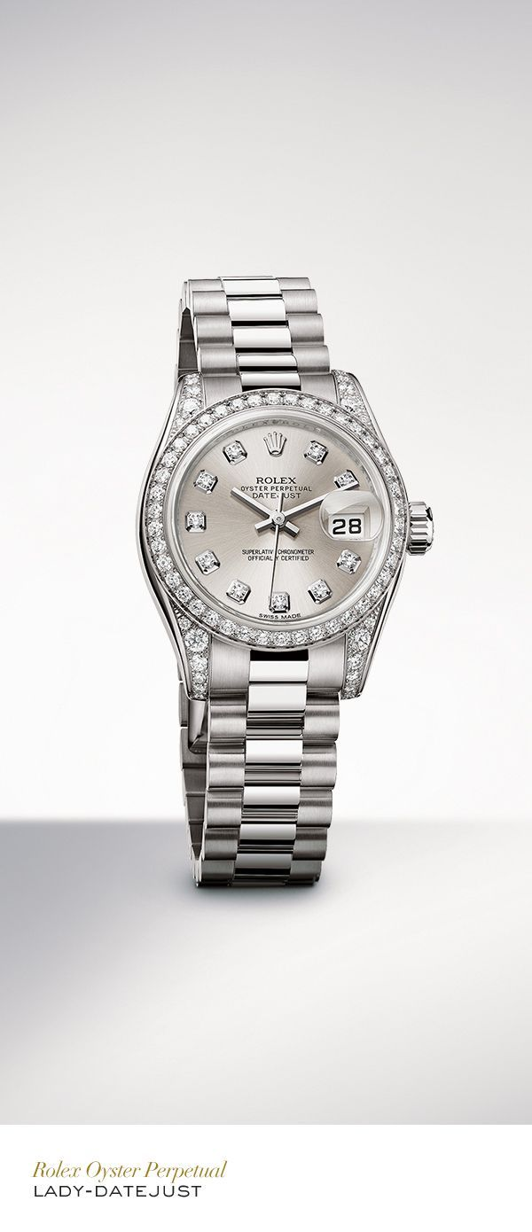 The Rolex Lady-Datejust 26mm in white gold with a diamond-set bezel, silver set with diamonds dial and President bracelet. #Festive #RolexOfficial - womens watches gold, womens watches sale, leather strap womens designer watches