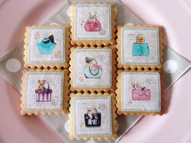 Postreadicción galletas decoradas, cupcakes y pops: Galletas decoradas con papel de azúcar: perritos