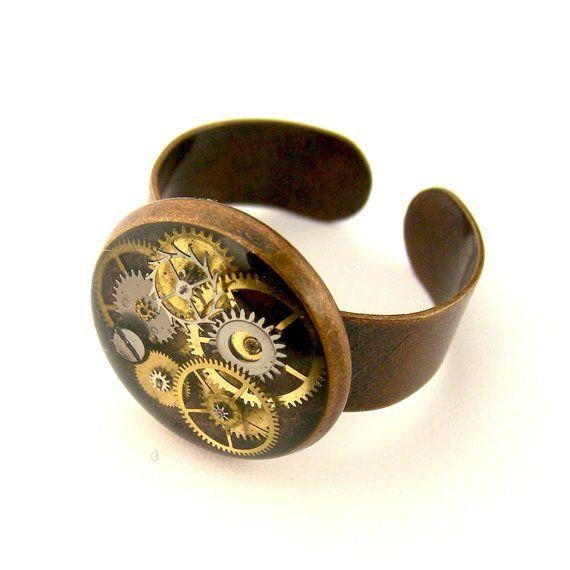 Piezas de resina anillo reloj Steampunk anillo ajustable (piezas del reloj mecánico en resina)