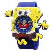 Atacado Q versão Relógio multicolor fita pat geléia relógio bonito dos miúdos das crianças Bob Esponja Calça Quadrada presente de explosão(China)