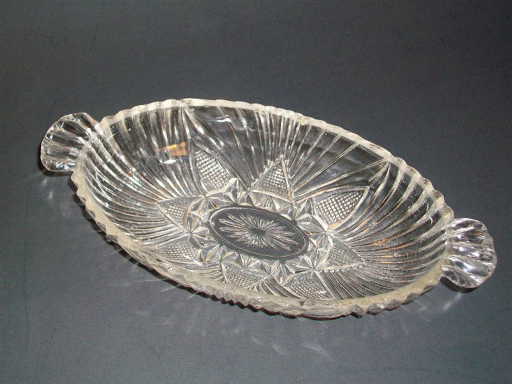 Clear Glass Relish Dish or Candy Dish, Oblong with Handles, Retro Gift Vintage | eBay