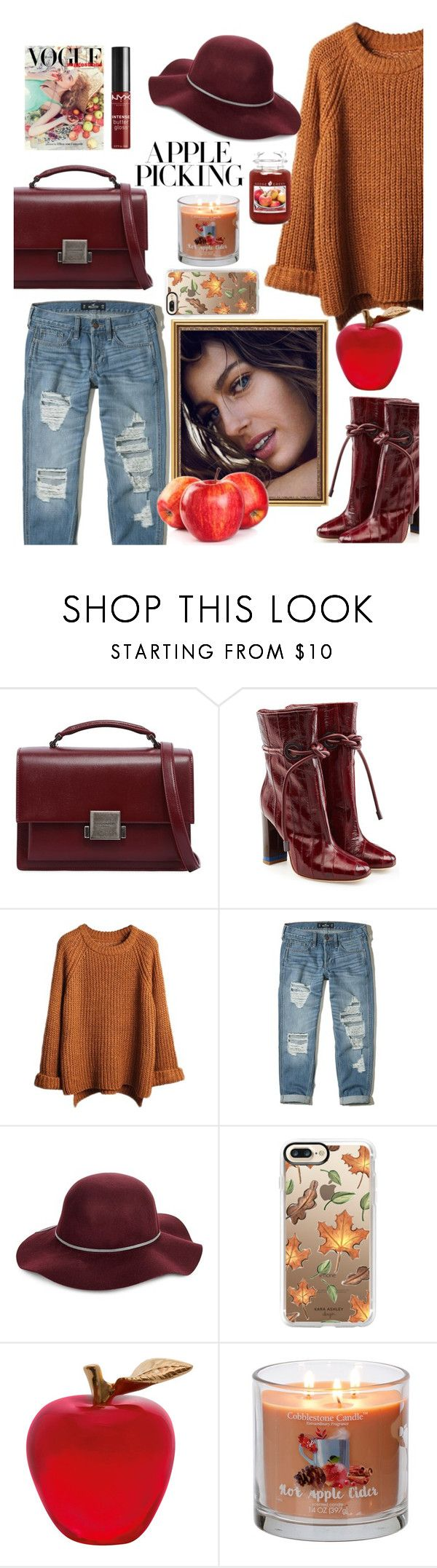 """""""Apple picking"""" by perriemaynard on Polyvore featuring Yves Saint Laurent, Malone Souliers, Hollister Co., San Diego Hat Co., Casetify, Daum and NYX"""