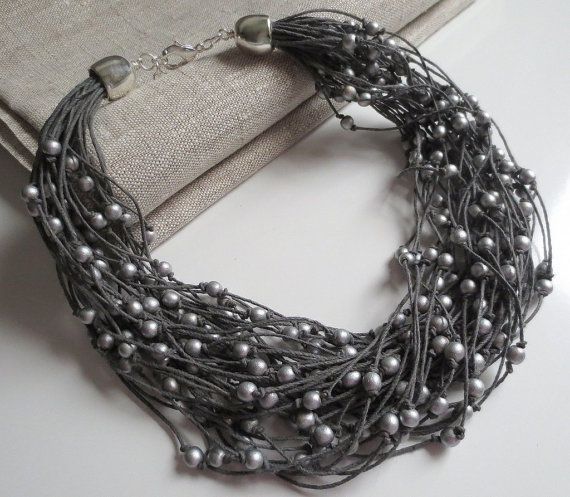 Silver Wood Beads, Grey Linen Cord, Necklace
