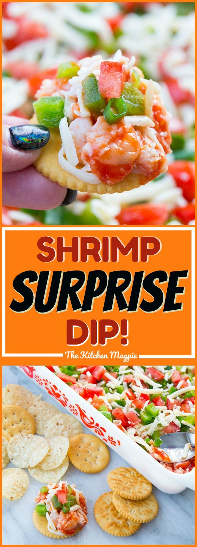 Shrimp Surprise Spread - The Best Seafood Dip Ever! This dip or spread is perfect for entertaining - especially on Game Day! #dip #recipe #shrimp
