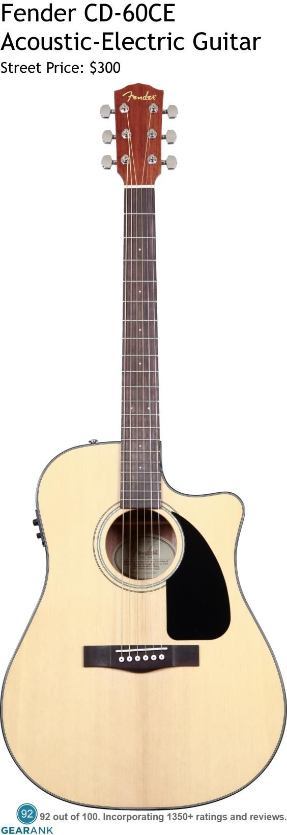 Fender CD-60CE Acoustic-Electric Guitar.  It has a laminated Spruce top with laminated Nato back and sides.  The electronics are the Fishman Isys III System with Active On-Board Pre-Amp and Tuner.  For a Detailed Guide to Acoustic Guitars see https://www.gearank.com/guides/acoustic-guitars