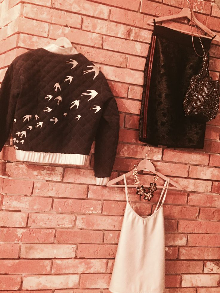 Bomber jacket/ black skirt/silver Top