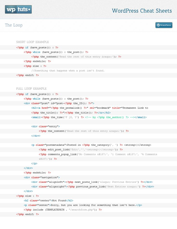 The Loop for Wordpress in short and long format