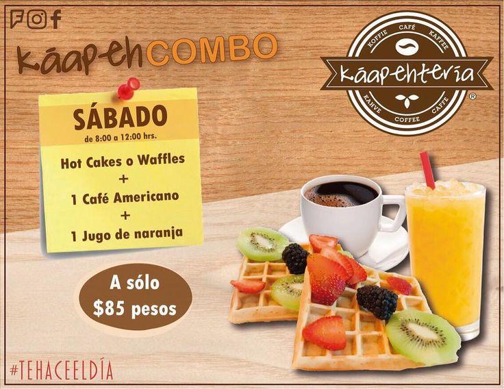 Hoy sábado comienza el día con unos deliciosos waffles o hotcakes acompañados con frutas o nutella un Café Americano y un delicioso jugo de naranja. Te esperamos de lunes a sábado de 8:00 a 22:00 hrs. horario corrido!  Servicio a Domicilio al (983) 162 1240  #Promociones #KáapehCOMBODesayunos #Káapehtería #TeHaceElDía #ConsumeLocal #Cafetería #Café #Alimentos #Postres #Pasteles #Panes #Cancún #Chetumal #México